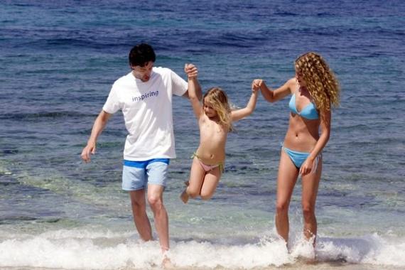 семья, море, ребенок